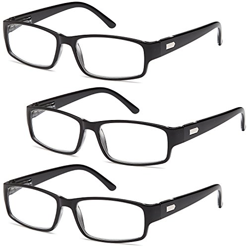 AV Pack of 3 Black Frame Readers Spring Hinge Reading Glasses for Men and Women - 1.00x Magnification