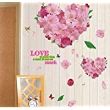 Romantic Love Heart Pattern Peach BlossomDIY Wall Stickers Love Confession Quote Wall Decal Valentine's Day Decoration Living Room Bedroom Bedside Wedding Room Decals