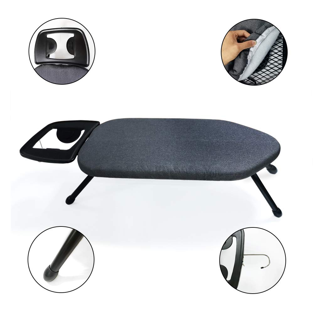 Duwee 14x25 Table Top Ironing Board with Thicken Felt Padding Black Solid Iron Rest Metallic Cover