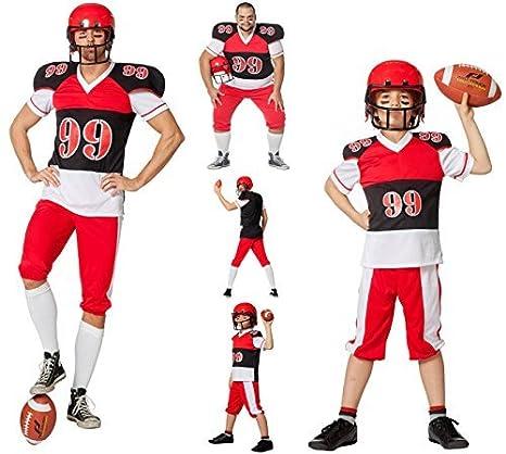882069d047e7 FOOTBALL GIOCATORE Costume Costume da uomo uomo Carnevale ROSSO NERO BIANCO  - Rosso/Nero/