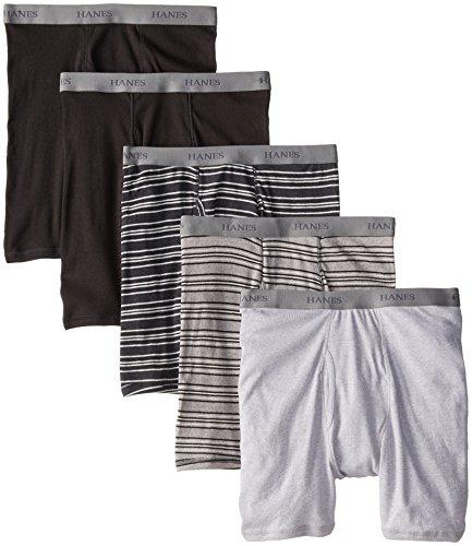 Hanes Men's FreshIQ Comfort Soft Waistband Boxer with ComfortFlex Waistband Brief - Large - Assorted/Stripe (5 pack) (Stripe Print Briefs)