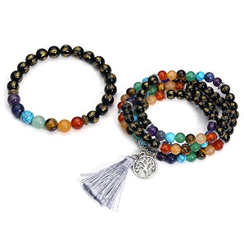 Top Plaza 108 Mala Prayer Beads Natural Lava Rock Stone Essential Oil Diffuser Bracelet Necklace 7 Chakra Healing Crystals Yoga Meditation Stretch Bracelets (Black Agate Set)