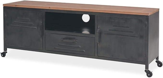 Mobile da Salotto Porta TV HWC-F58 40x140x45cm Metallo MDF PVC Legno Scuro