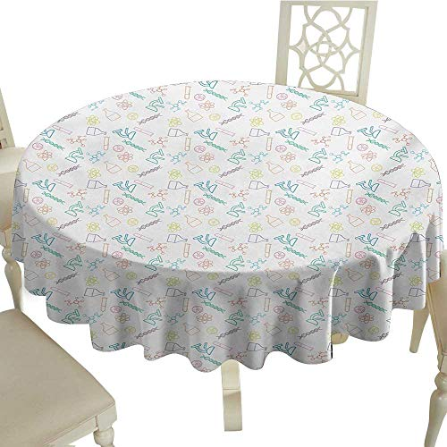 - Cranekey Polyester Round Tablecloth 70 Inch Science,Chemistry Concept Pattern with Chemical Instruments University School Education,Multicolor Suitable for Home Coffee Bar,Party,Wedding,& More