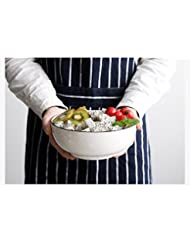 TGLBT 35 Ounce Porcelain Round Bowls Set Soup and Fruit,Salad Bowls, Mixing Bowls, Stackable Round, White - Set of 3