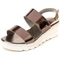 MarcLoire Women Floaters & Outdoor Sandals, Girls Fashion Floaters Sandals, Open Toe Sandals with Buckle Closure, Flatform Sandals - Synthetic, Gun Metal