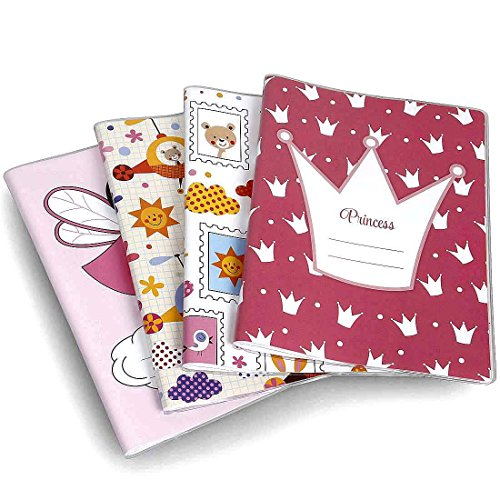 Bundle Monster 4pc Little Kid Mixed Design Reusable Plastic Sleeve Composition Book Covers - Set 2: Pretty Princess