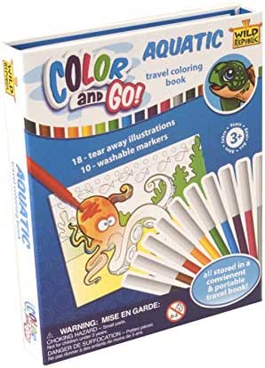 Wild Republic Aquatic, Color & Go, Coloring Books for Toddlers, Stem Activities, 18 Pages