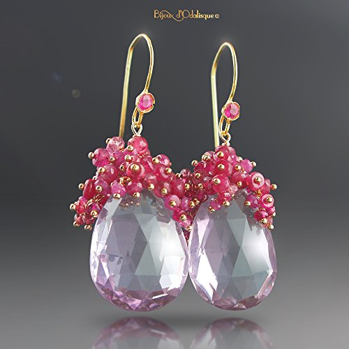 18k Gold Pink Amethyst Earrings with Pink Spinel, Pink Sapphires, and Ruby