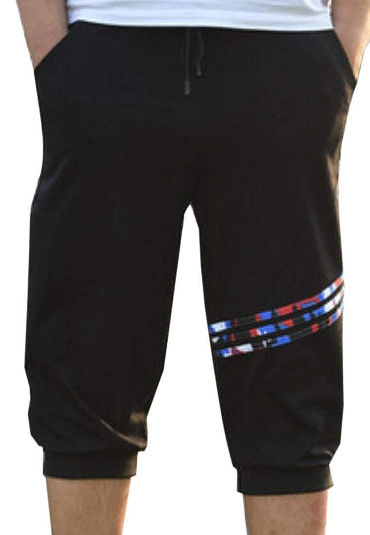 BU2H Mens Athletic Cotton Drawstring Waist Jogger Running Capri Shorts Black US 3XL