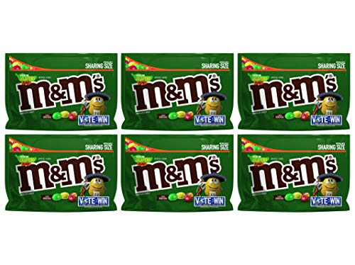 M&M's (Pack of 6) Chocolate Candy Flavor Vote Mexican Jalapeno Peanut Sharing Size, 9.6 Ounce -