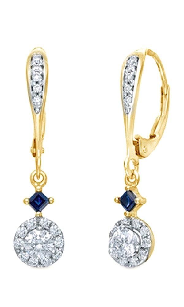 Weißszlig; natürlicher Diamant & Prinzessin Simuliert Blau Saphir Ohrringe in Tropfenform 14 ct 585 Weißszlig; Gold massiv (0,5 Karat) 14 Karat (585) GelbGold