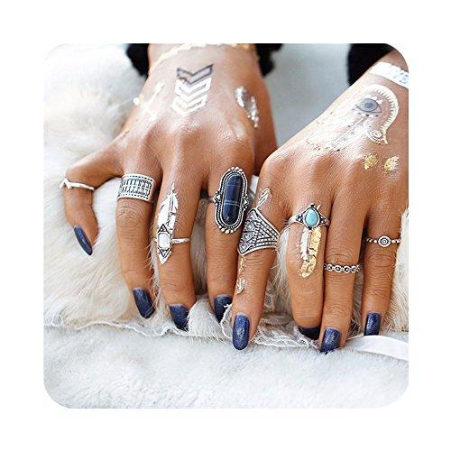 cyntan Knuckle Ring Set Vintage Statement Ring Boho Arrow Moon Elephant Midi Finger Ring Set For Women (Silver # 6)