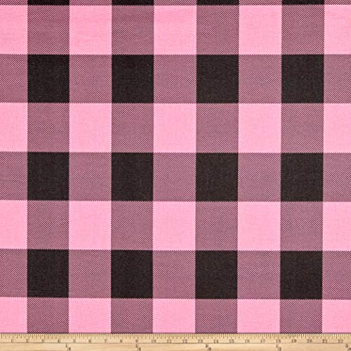 Premier Prints Buffalo Check Cotton Duck Polish Pink/Black Fabric Fabric by the Yard