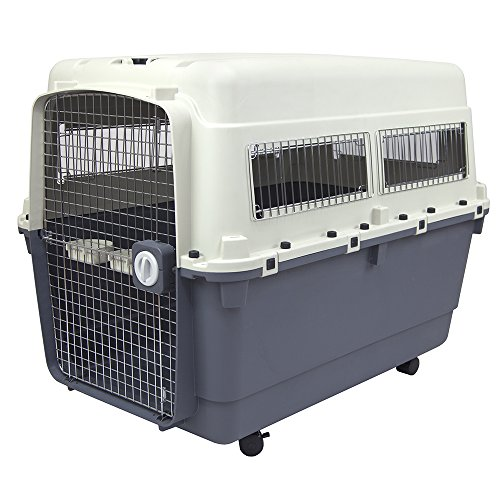 SportPet Designs Plastic Kennels Rolling Plastic Wire Door Travel Dog Crate