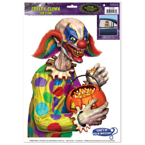 Creepy Clown Backseat Driver Car Cling Party Accessory (1 count) (1/Sh)