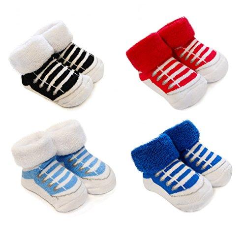 Babysocken 4er Set für Mädchen und Jungen von 0-6 Monate Baby Socken Box - Tolle Füsslinge - Ideal als Geschenk (Sneakers)