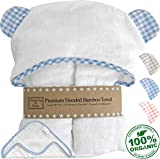 Channing & Yates - Premium Baby Towels for Boys - Hooded Baby Boy Towel & Washcloth Set - Certified Organic Bamboo Baby Towels with Hood - Baby Boy Bath Towels Gift (Blue)