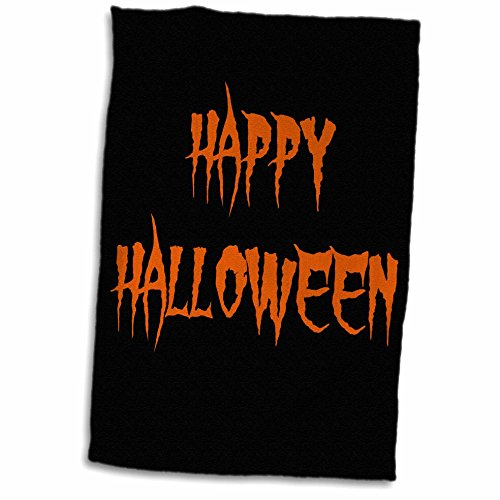 3dRose Xander holiday quotes - happy halloween orange spooky letters on black background - 12x18 Hand Towel (twl_200673_1)