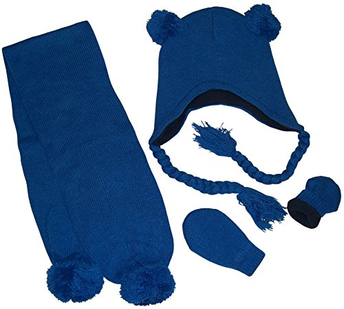 N'Ice Caps Little Boys Fleece Lined Knitted 3PC Set with Poms (Royal Infant, 6-18 Months)