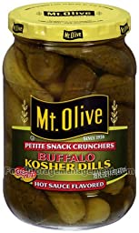 Mt. Olive Petite Snack Crunchers Buffalo Kosher Dills Pickles - Flavored with Texas Pete Hot Sauce 16oz Glass Jar (Pack of 4)
