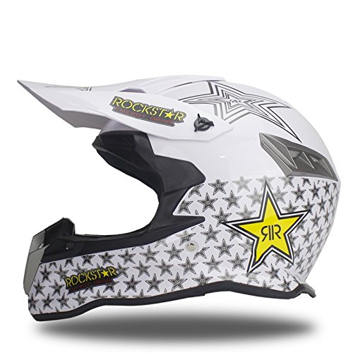 Woljay Dual Sport Off Road Motorcycle helmet Dirt Bike ATV D.O.T certified Rockstar White (L) (Rockstar Dirt Bike Helmets)