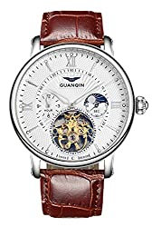 Fanmis Brown Leather Strap Men Tourbillon Luminous Automatic Watch Skeleton Moon Phase Waterproof White -S