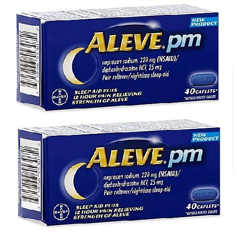 Aleve PM Caplets with Naproxen Sodium, 220mg (NSAID) Pain Reliever/Fever Reducer/Sleep Aid, 40 Count - 2 Packs by Aleve