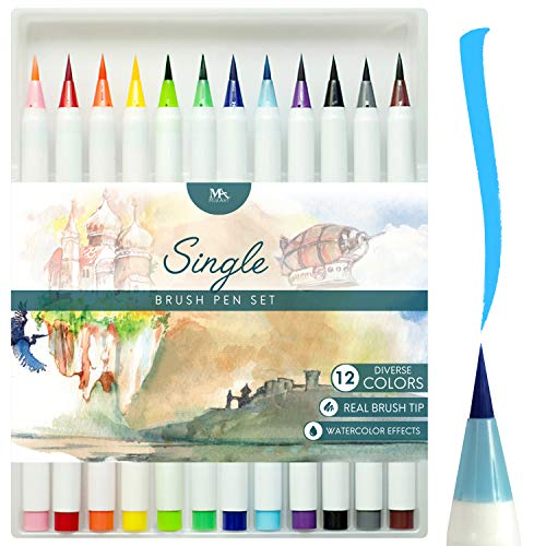 MozArt Supplies Brush Pens Set - 12 Colors - Soft Flexible Real Brush Tip Marker Pens, Durable, Premium Grade - Create Watercolor Effect - Ideal for Adult Coloring Books, Manga, Comic, Calligraphy (Best Brush Pens For Lettering)