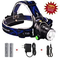 SUPREME® 2000 Lumens bright LED headlamp Rechargeable 18650 Batteries, Waterproof flashlight Strobe, Book nightlight, Zoomable Lightweight & Comfortable, for Camping, Hiking, weather Biking, Kids Ect.