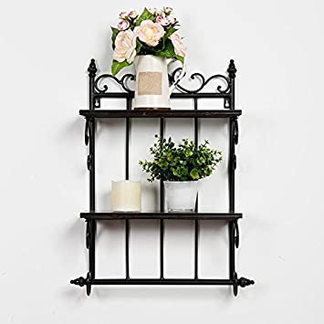 Amazoncom SSWrought Iron Wall Shelf Living Room Kitchen Bathroom - Wrought iron bathroom wall shelves