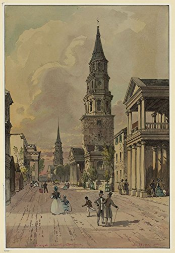 1861 Photo Principal church, Charleston Drawing shows men, women and children walking past St. Michael's Episcopal Church on Broad Street in Charleston, South Carolina on the eve of the Civil ()