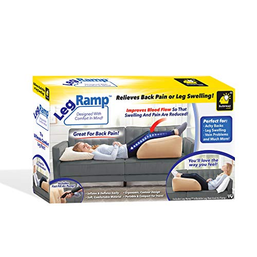 BulbHead Leg Ramp Inflatable Wedge Pillow Leg Pillow Elevates Legs and Feet for Temporary Relief from Leg Swelling, Sore Feet, Sciatica, Hip Pain, and More!