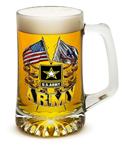 Poker Pilsner Glass - Beer Mugs with Handles – Double Flag US Army 25 oz Tankard Beer Mug – Armed Forces Gifts for Men or Women – Army Men American Soldier Beer Glasses with Logo (25 Ounces)
