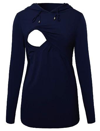 Hoodie Sweatshirt Long Sleeves Breastfeeding