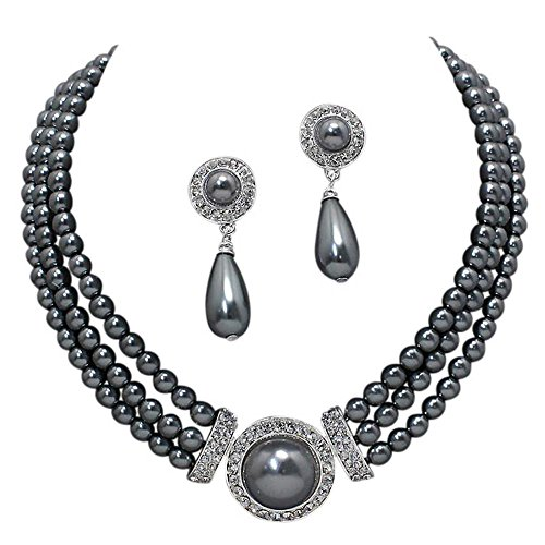 Elegant 3 Strand Steel Gray Pearl Tone Drop Bridal Necklace Earring Set X2