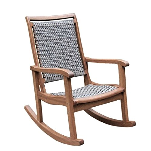 Bentwood Rocking Chair Eucalyptus Armrest All Weather Woven Resin Wicker Seat Indoor Outdoor Patio Front Porch Furniture Modern Brown Grey Relax Comfortable & eBook by JEFSHOP. ()
