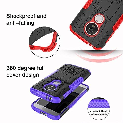Moto E5 Play Case, Moto E5 Cruise Case, Yiakeng Dual Layer Shockproof Wallet Slim Protective with Kickstand Hard Phone Case Cover for Motorola Moto E5 Play (Blue)