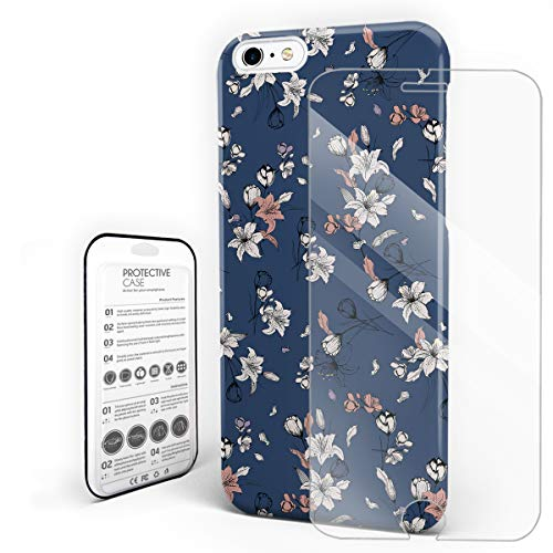 Durable Phone Case for iPhone 6/iPhone 6s, Retro Flannel Flower Stylish Phone Shell Shockproof Protective Back Cover with Tempered Glass Screen Protector, Anti-Scratch