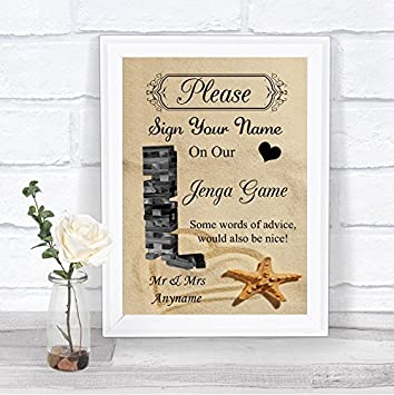 eb92d7fe6f03a Amazon.com : Beach Sand Jenga Guest Book Personalized Wedding Sign ...