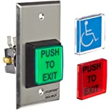 Securitron Single Gang 2 Square Momentary Push Button, SPDT