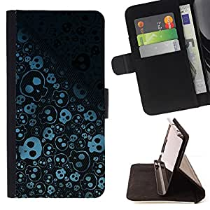 DEVIL CASE - FOR Samsung Galaxy Note 4 IV - Wallpaper Skulls Skeleton Drawing Sketch - Style PU Leather Case Wallet Flip Stand Flap Closure Cover