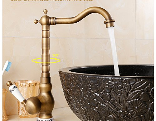 kohstar 1PC Retro Deck Mounted Single Handle Hole Bathroom Sink Mixer Faucet Antique Brass Hot and Cold Water Face Mixer Tap ()