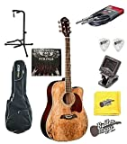 Oscar Schmidt OG2CESM Spalted Acoustic Electric Dreadnought Guitar with Gig Bag and More
