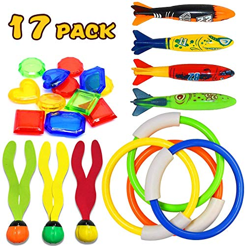 17 Pack Underwater Swimming Diving Pool Toy Rings(4) Toypedo Bandits(4) Aquatic Dive Balls(3) Under Water Treasures Gift Set(6), Kids Toy Christmas Holiday Birthday Party Favors for Boys Girls Ages 3+