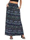 Milumia Women's Boho Vintage Print Pockets A Line Maxi Skirt (Large, Black)