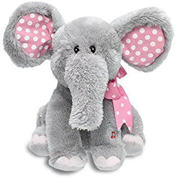 """Cuddle Barn® Ellie the Elephant Animated Musical Plush Toy, 12"""" Super Soft Cuddly Stuffed Animal Moves Head and Flaps Ears to the Classic Tune """"Do Your Ears Hang Low""""- Gray & Pink"""