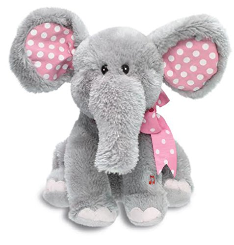 "Cuddle Barn Ellie The Elephant Animated Musical Plush Toy, 12"" Super Soft Cuddly Stuffed Animal Moves Head & Flaps Ears To The Classic Tune ""Do Your Ears Hang Low""- Gray & Pink, Multicolor"