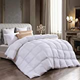 Goose Down Comforter King Size,Super Comfy Down Comforter,100% Egyptian Cotton,Hypoallergenic Duvet Insert(White,106x90Inches)