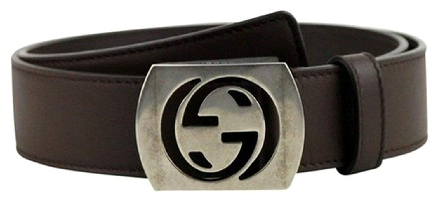 7ee1e662406 Amazon.com  Gucci Men s Cocoa Brown Leather Interlocking G Leather Belt  387031  Clothing